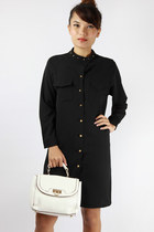 Gold studs shirtdress - black