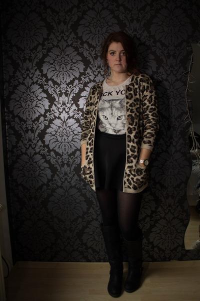 black new look boots - dark brown Primark sweater - off white gift shirt