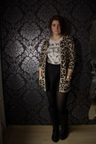 black new look boots - dark brown Primark sweater - off white gift shirt