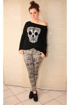 black new look sweater - charcoal gray c&a pants - black new look wedges