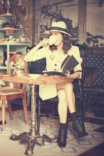 camel Zara coat - black Margiela boots - beige Zara hat