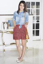 blue American Eagle shirt - red JCrew skirt - camel Schutz flats