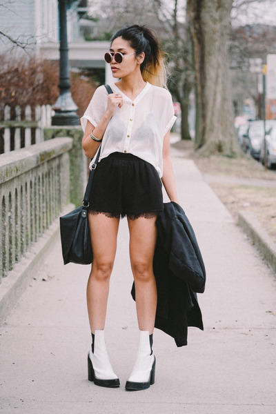 white space boots nastygal boots - black BCBGeneration shorts