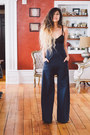 navy high waisted Assembly New York pants - mesh nastygal bodysuit