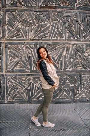 olive green Topshop jeans - black Zara jacket - dark gray H&M t-shirt