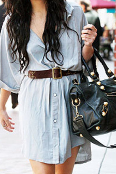blue idk dress - brown idk belt - idk bag