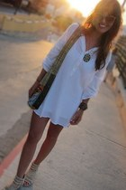 white linen Mossimo dress - messenger vintage purse - tan cat eye aj morgan sung