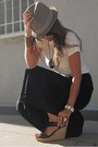 Black-palazzo-final-touch-pants-tan-fedora-element-hat