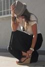 Black-palazzo-final-touch-pants-tan-fedora-element-hat