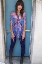 sheer zandra rhodes blouse - purple volcom pants - lace up combat Dolce Vita clo