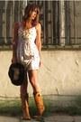 Tawny-cowboy-thrifted-vintage-boots-ivory-silk-bb-dakota-dress