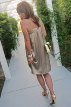 neutral silk vince dress - silver chain thrifted vintage purse