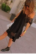 black ankle Dolce Vita boots - black sheer baby doll Juicy Couture dress - black