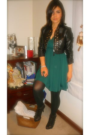 black Zara shoes - green H&M dress - black Stradivarius jacket