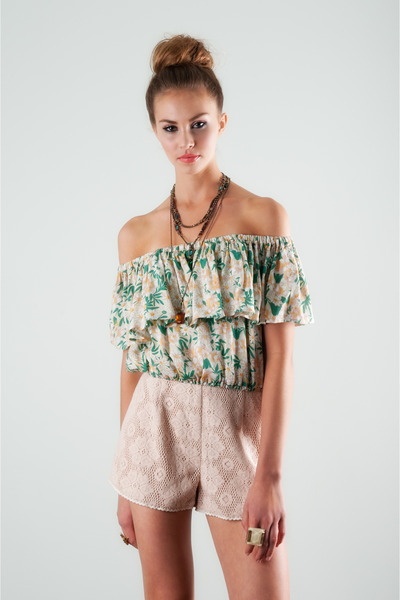 floral crop top lucca couture top