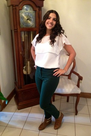 brown Zara shoes - green Zara pants - creme Zara blouse