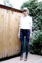 white H&M blouse - brown Elizabeth Stuart boots - blue Cheap Monday jeans