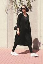 black Monki coat - Zara jeans - pieces bag - Adidas sneakers