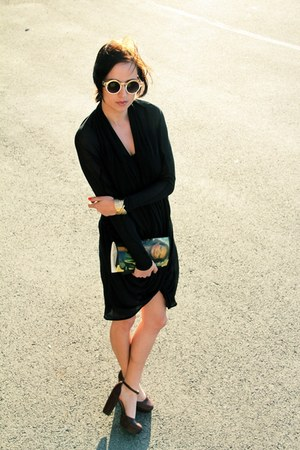 black Vero Moda dress - olive green thrifted bag - ivory ca sunglasses