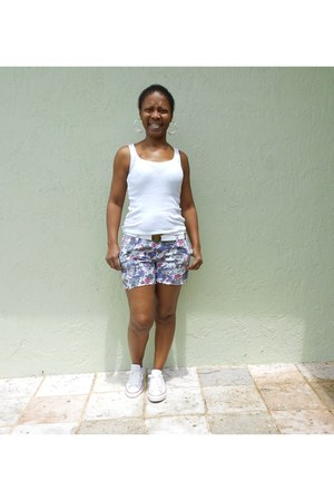 flower Hurley shorts - white Converse sneakers - white tank top jockey t-shirt