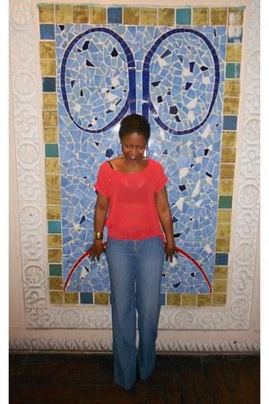 red sheer Love Culture shirt - brown HeartSoul boots - blue wide leg Gap pants