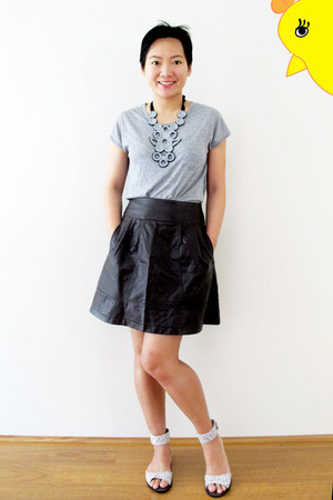 dark brown leather look Glassons skirt - heather gray FCUK shirt