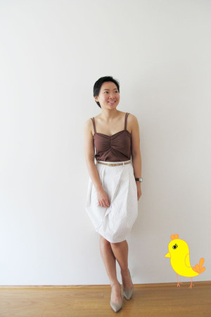 ivory ballon skirt Zara skirt - tan Melissa shoes - camel Country Road cardigan