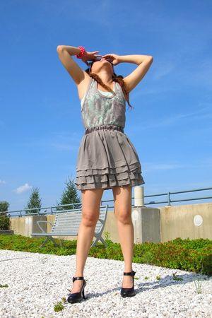 blue JCrew shirt - no brand shirt - H&M skirt - JCrew bracelet - Juicy Couture s