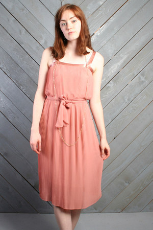 light pink sheer pleated vintage dress