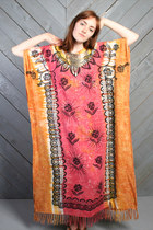 Coral-fringed-caftan-vintage-dress