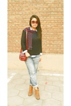 new look jeans - dfuse boots - Mango shirt - c&a bag - H&M jumper