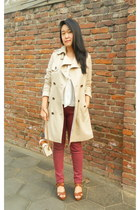 cream me&city coat - camel Urban Outfitters bag - cream Zara blouse