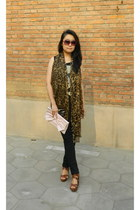 mustard leopard print from japan scarf - light pink bow new look bag