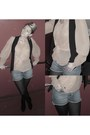 Denim-shorts-shorts-topshop-blouse-river-island-waistcoat-top