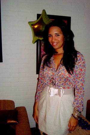 flower chiffon none blouse - ribbon belt Charlotte Russe skirt
