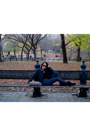 gray Zara coat - black Macys boots - mk Michael Kors bag