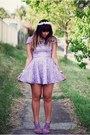 Light-purple-zara-shoes-light-purple-rosy-ruby-dress-white-vintage-hat