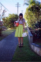 lime green Boohoo skirt - light pink Gingerbread Shop top - black Siren heels