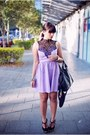 Light-purple-rosy-ruby-dress-black-topshop-bag-black-siren-sandals