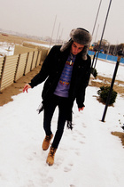 beige Levis boots - purple Iceberg sweater - black Tommy Hilfiger jacket - Rabbi