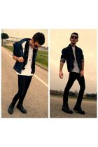 black boots - black jeans - blue jacket - white t-shirt