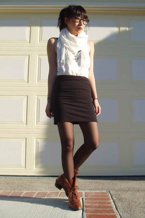 H&M top - H&M scarf - American Apparel dress - vintage shoes