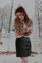 leather skirt - tights - vintage blouse