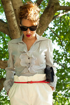 bag - stripes blouse - white pants