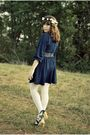 Blue-vintage-dress-white-diy-accessories-white-target-tights-blue-seychell