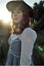 Blue-modcloth-dress-white-vintage-blouse-brown-vintage-hat-brown-jeffrey-c