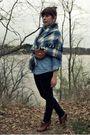 Blue-vintage-coat-blue-vintage-shirt-blue-urban-outfitters-jeans-brown-sey