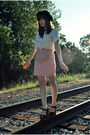 Pink-modcloth-skirt-white-thrifted-blouse-black-target-hat-black-vintage-t