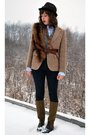 Brown-vintage-jacket-brown-vintage-vest-brown-dolce-moda-hat-brown-vintage