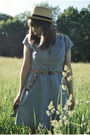 Blue-modcloth-dress-beige-urban-outfitters-hat-blue-jcrew-belt-gold-modclo